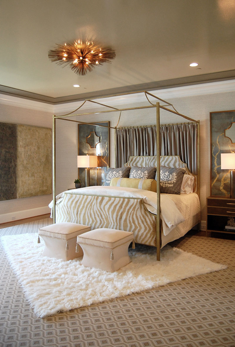 white fur rug white concole chairs white wall grey ceiling downlights elegant bronze ceiling l& white : brown canopy bed - memphite.com