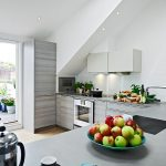 white painted kitchen gray kitchen cabinets gray  kitchen countertop fresh and organic fruits fresh and organic vegetable large glass panel healthier and greener kitchen