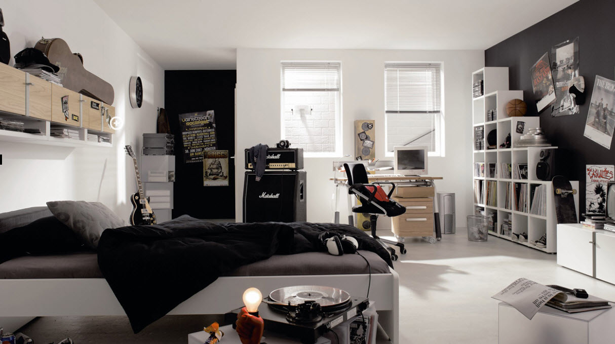 White Painted Wall Black Painted Wall White Bookcases White Bedframe Wooden  Study Desk Black Futuristic Wheeled