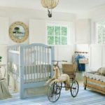 White Painted Wall Light Blue Painted Crib Wooden Rustic Toy Storage Comfortbale Rocking Chair Stripes Blue Rug White Painted Ceiling Cute Baby Nursery Room