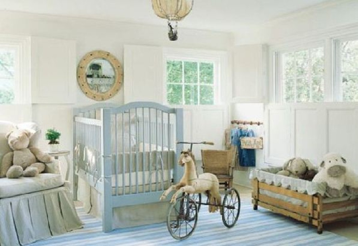White Painted Wall Light Blue Crib Wooden Rustic Toy Storage Comfortbale Rocking Chair Stripes