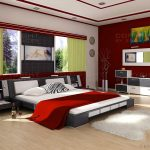 white painted wall red painted wall light wooden floor white fuury rug futuristic bedframe white bedsheet white painted ceiling red and white bedroom color scheme