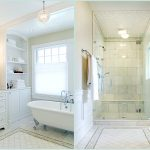 white painted wall white painted cabinet white painted storage white clow-feet bathtub ceramic tile floor white theme bathroom bright bathroom ideas single crytal pendant lamp