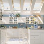 White Painted Wooden Kitchen Cabinets White Painted Wooden Bar Chair Soft Blue Painted Wooden Backsplash White Skylighted Ceiling Glassed Cabinet Door Bright Kitchen