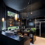 winning black kitchen concept with astonishing large cabinet interesting yellow pendant lamp amazing black glossy wooden countertop in large carpeting floor