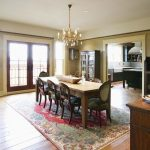 wonderful Dining Table Also classic Floral Sample Rug Together with Wood Vainness In The Close to plus two Glasses Window Extraordinary Dining Room concept Fancy Chandelier