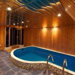 wonderful Lighting In Glasses Ceiling Ideas Nicely Mosaic Tile Cover Pool Interesting Indoor Swimming Pool Desk Design wooden barrier