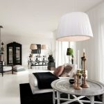 wonderful Round Table As Nicely White Sofa Bed On Black Rug Including White Curtain Vast Glasses Window beautiful Dazzling House Inside Design With Large Round Pendant Lamp
