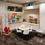 wonderful basement playroom with magnificent natural soft brown wall aaccent and also large closet with additional seating in hardwooden floor