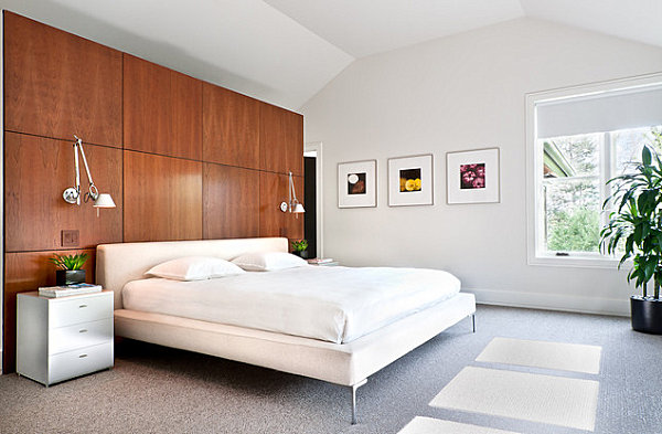 wonderful bedroom interior with gorgeous dark brown wall panel and interesting white wall decal and mini