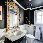 wonderful black bathroom with wonderful granite top also ravishing gold framed mirror with interesting white tiled background in mosaic tile flooring