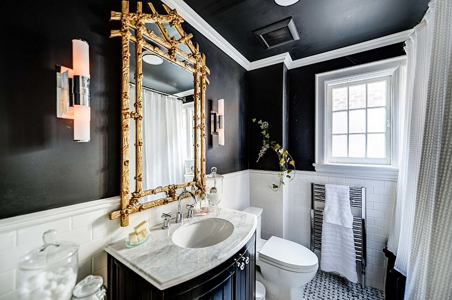 wonderful black bathroom with wonderful granite top also ravishing gold framed mirror with interesting white tiled