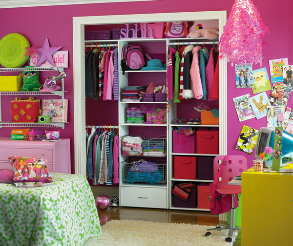 Wonderful Closet Ideas For Kids With Magnificent Pink Wall Decol Feat Small  Yellow Study Desk And