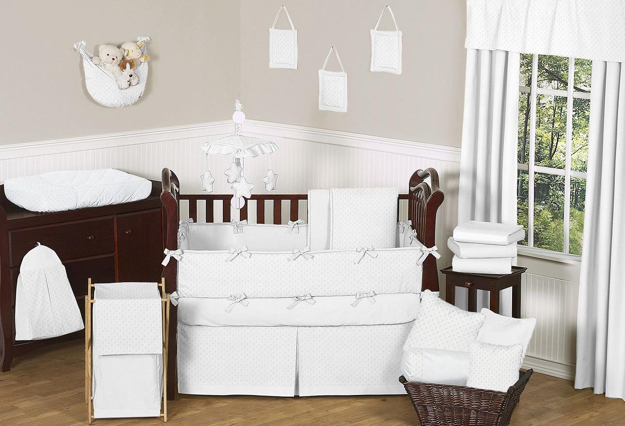 Cream And White Baby Crib Bedding