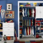 Wonderful Kids Room With Organized Closeets Idea With Amazing Dark Blue Wall Decall Also Intersting White Cabinet Feat Colorful Rug