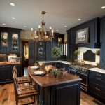 wonderful kitchen renovation idea with beautiful chandelier magnificent black large kitchen cabinet wonderful stripe  chairs interesting laminate flooring with golden accent