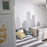 wonderful worst baby rooms nursery room theme with grey wall decals and gorogeus stripes sheet also large white wooden cabinet and cute white crib for small space