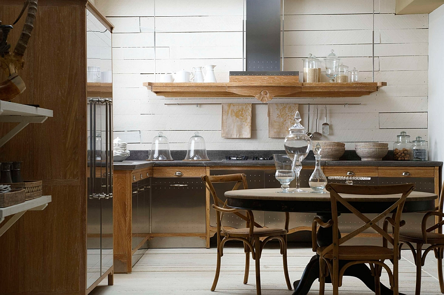 organic kitchen design. wooden varnished storage cabinets marble countertop  dining set white painted wall Classic Meets Modernity This Kitchen Design Has It All HomesFeed