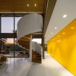 Yellow Painted Wall White Painted Concrete Floor White Spiral Staircase Wooden Ceiling White Painted Ceiling Large Glass Panel Geometric House Limanto Residence In Sao Paolo Brazil
