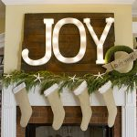 Big shining JOY-word ornament  beautiful green wreath  pine leaves Christmas ornament light brown Christmas socks decorations for mantel