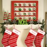 Christmas  balls in red and green colors pretty red-green mini artificial Christmas trees NOEL-word ornaments in green tone artificial pine leaves decoration  Christmas socks
