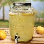 Mason jar glass beverage dispenser with stainless steel spigot
