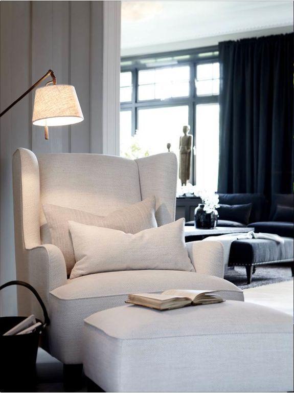 Simple White Reading Chair Beautiful Unique Lamp Corner Cozy