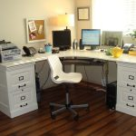 a pair of white wood cabinets in desk office minimalist office chair telephone set fax machine computer set wood flooring