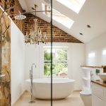 alluring bathroom concept with elegant white jacuzzy also unique wall marmer with astonishing chandelier in granite tile flooring