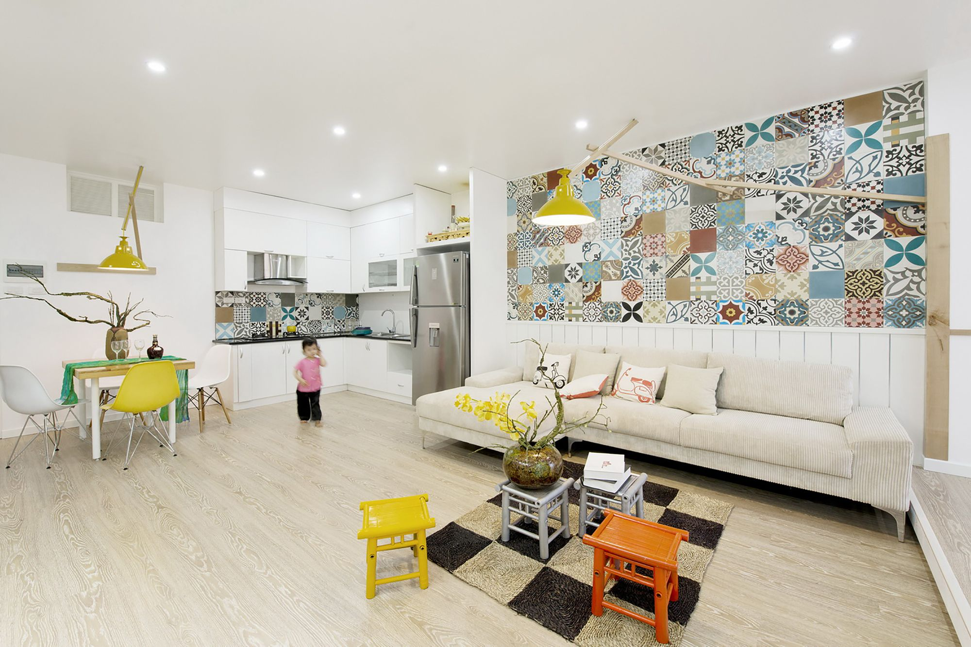 elegant apartment in hanoi featuring colorful wall tiles | homesfeed