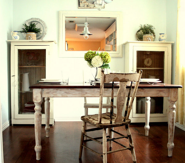 Distressed White Dining Room Furniture