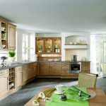 amazing l-shaped kitchen with nineteenth century style feat elegant wooden kitchen furniture also raavishing wall mount cabinet in concrete flooring
