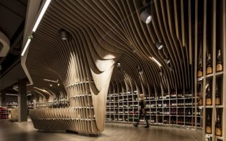 amazing supermarket design with wonderful wooden wavy ceiling also interesting clustered display in marble tile flooring