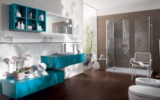 astonishing bathroom design with energizing turqoise vanities also elegant shower room with white bidet completed with elegant tower tuck in laminate flooring concept