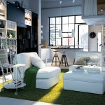 astonishing furniture set for modern house with elegant white sofa and wonderful modular shelves with interesting large glass window also green rug like a large field