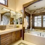 astonishing traditional bathroom style with woode beams also elegant large vanities with alluring white bathtub and bright window style