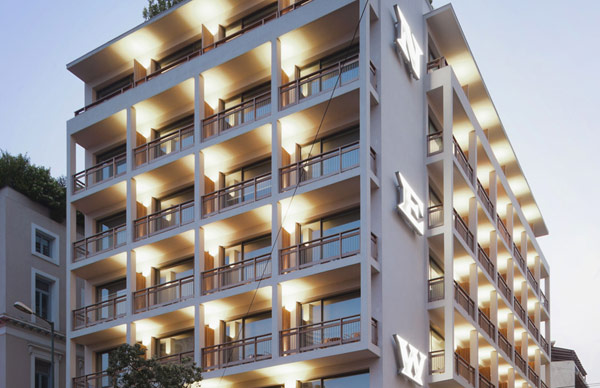 beautiful building design modern hotel design luminous building unique hotel design of the NEW hotel in Greece