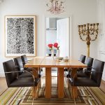 beautiful dining table idea with square glossy top also ravishing black leather chairs with artistic painting and square motif rug in laminate flooring