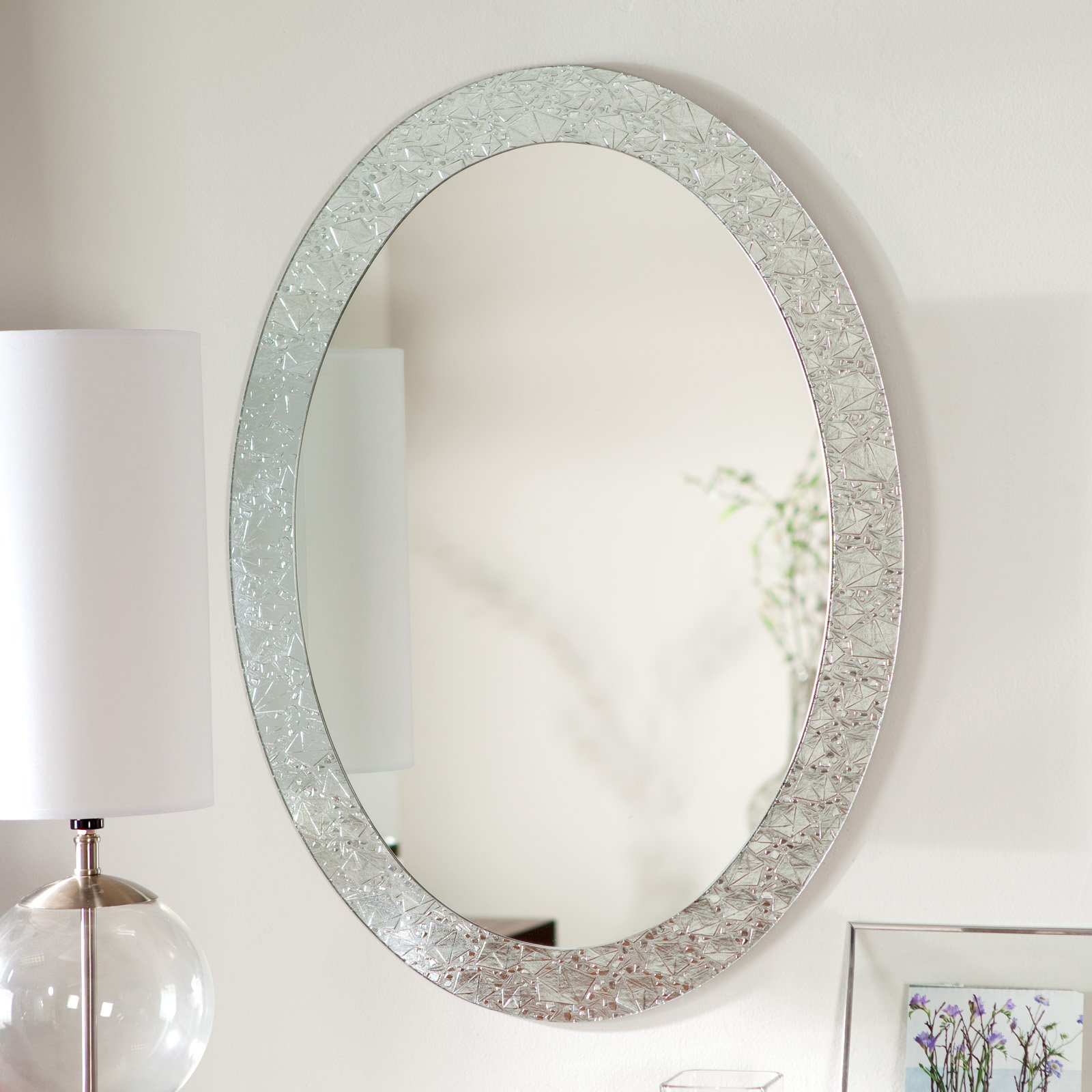 Sheffield Home Mirrors Simplest Way to Give Lux and  : beautiful mirror ornament in oval design pure white table lamp with glass ball body white frame flower picture from homesfeed.com size 1600 x 1600 jpeg 256kB