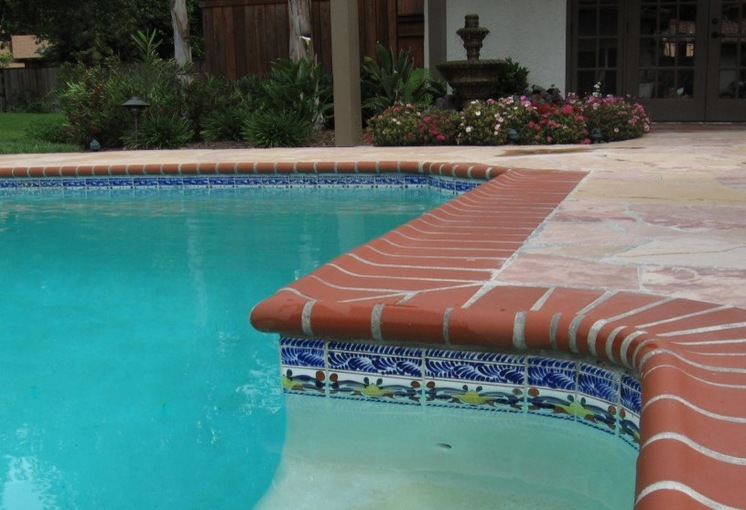Pool Tile And Coping Ideas onyx 2 x 2 mosaic tiles by zen paradise inc natural stone pool tile Beautiful Orange Swimming Pool Borded With White Lines White Swimming Pool Bottom Dark Wood Patio Doors