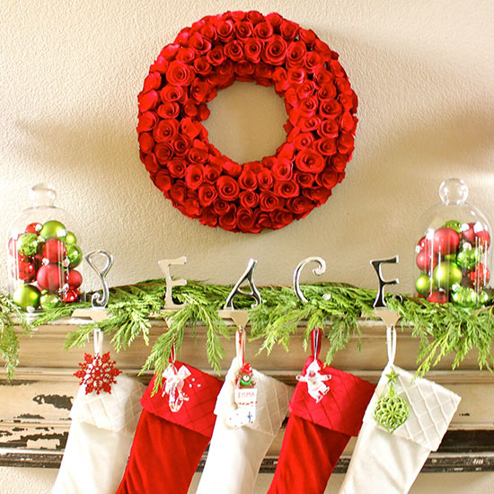 beautiful red roses wreath red and green christmas balls within transparent glass food containers fresh and - Red White Green Christmas Decor