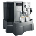 big modern automatic coffee machine with two direct lines features two cups of hot and delicious coffee