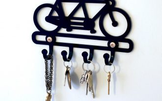 black unique key holders with bicycle shape