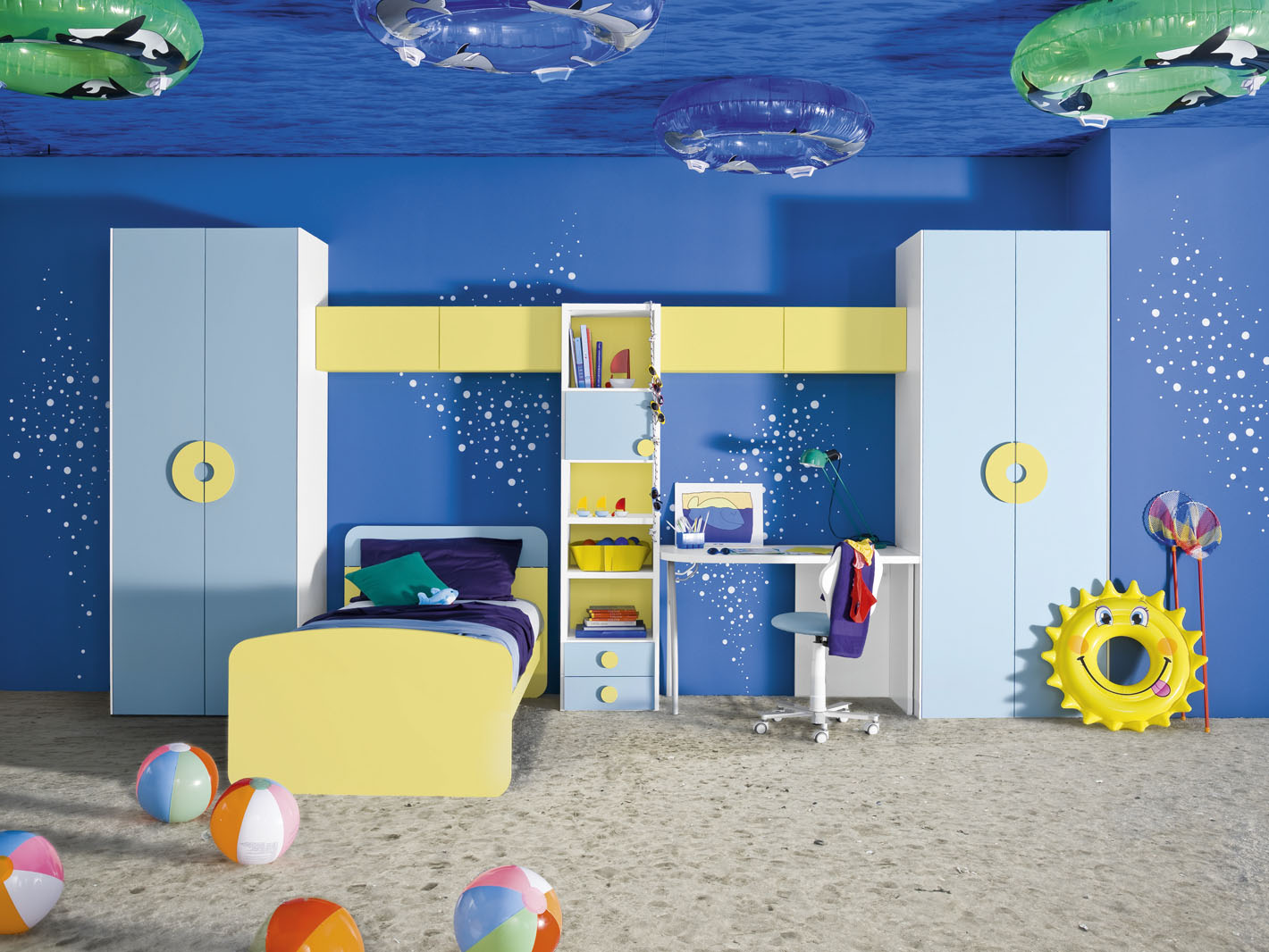 blue painted wall sand patterned flooring yellow bedframe light blue  storage white study table blue ceiling. What Colors Are Perfect for Kids  Room    HomesFeed