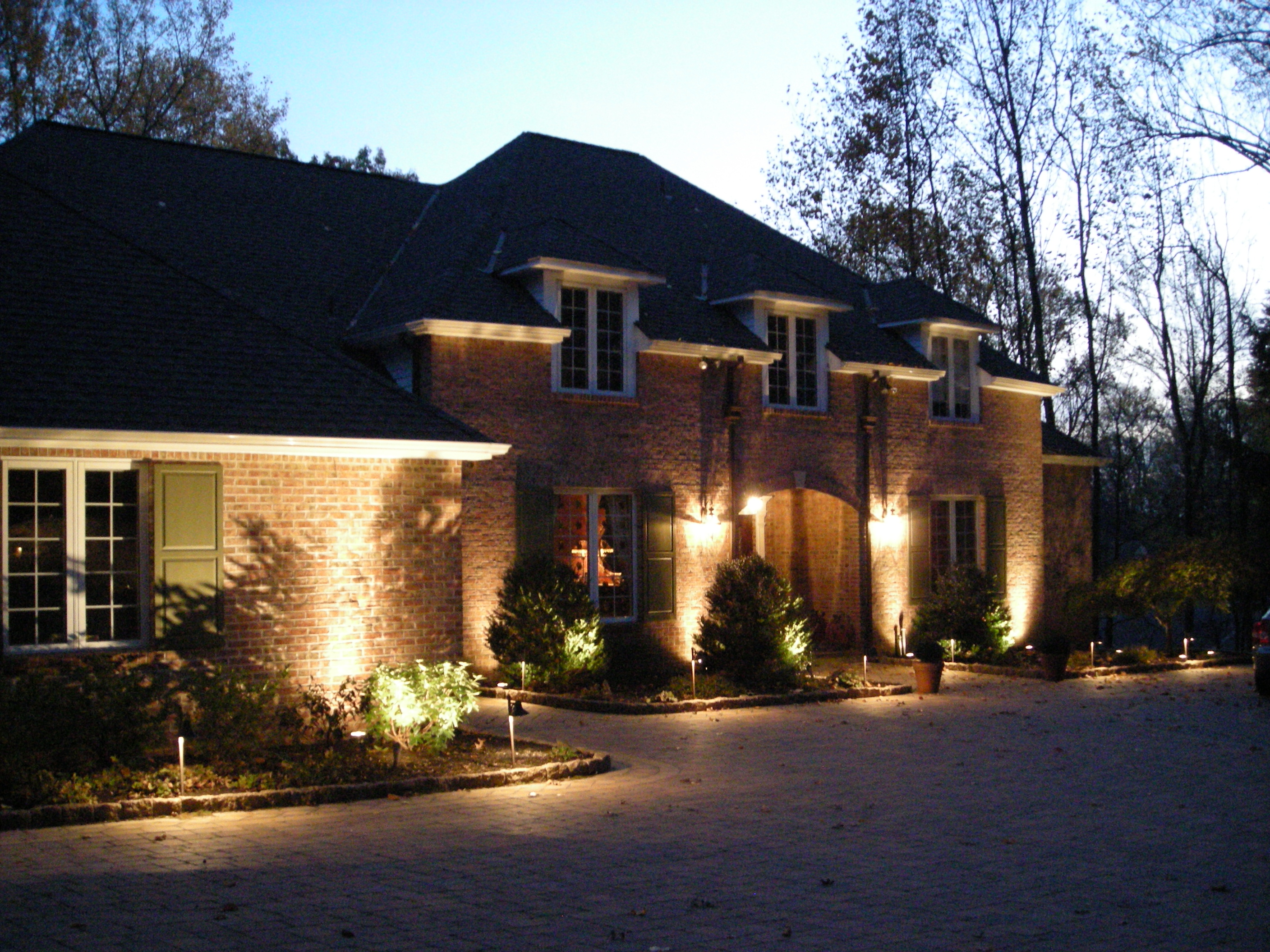 Bricked Exterior Wall White Painted Window Frame Perfect Exterior Lighting  Ideas Lighting Design For Front Entry