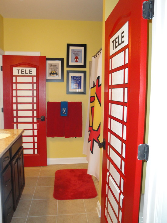 Brown Tiled Flooring Red Mat Unique Telephone Booth Themed Door Yellow Wall White Ceiling Black