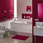captivating batrhoom ideas with excellent dark pink accent also elegant white bidet and cute sink with potted flower in laminate flooring