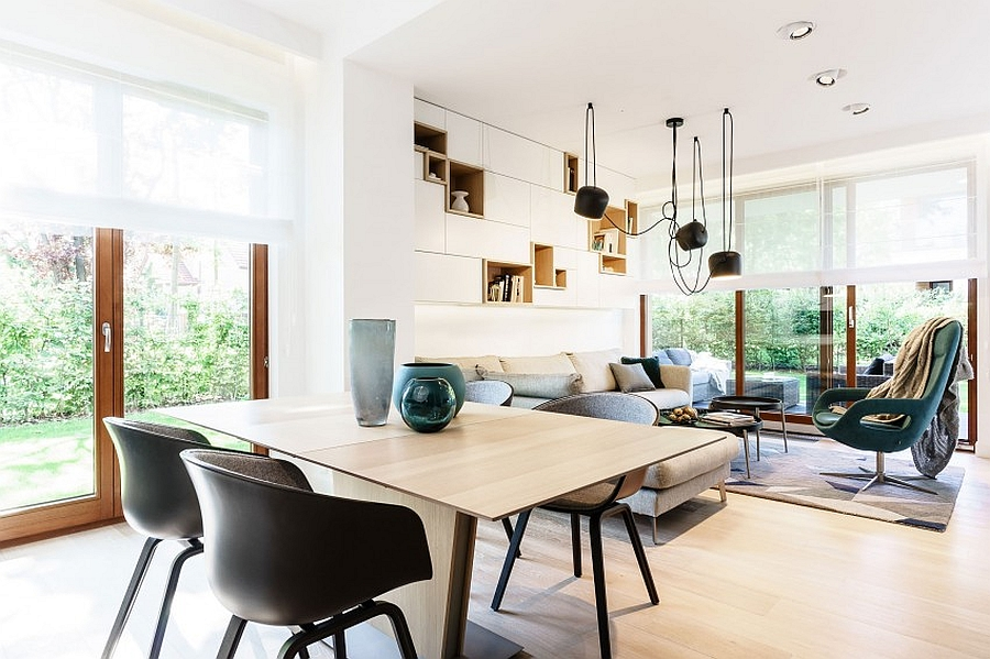 cheerful living space for minimalist apartment with elegant dining set furniture also interesting creamy couchwith modular wall mount shelves also interesting downlight in hardwooden flooring