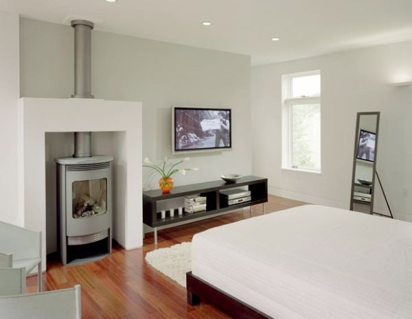 Attrayant Clean Line Of Bedroom Idea With Interesting Gas Fireplace Feat Elegant  White Bed Also Wonderful Floating