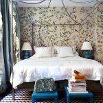 colorful nature themed wallpaper white bedding set cone steel canopy frame blue low table blue table lamp with white cover black and cream striped rug grey curtains white ceiling